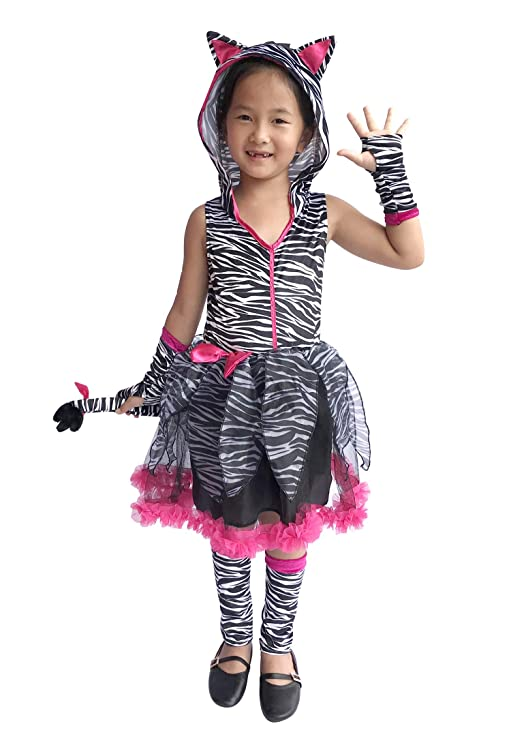 So Sydney Deluxe Girls Zebra Costume & Accessories, Kid Toddler Animal Print Tutu Dress Halloween Dress-Up (L (7/8), Zebra Hot Pink)