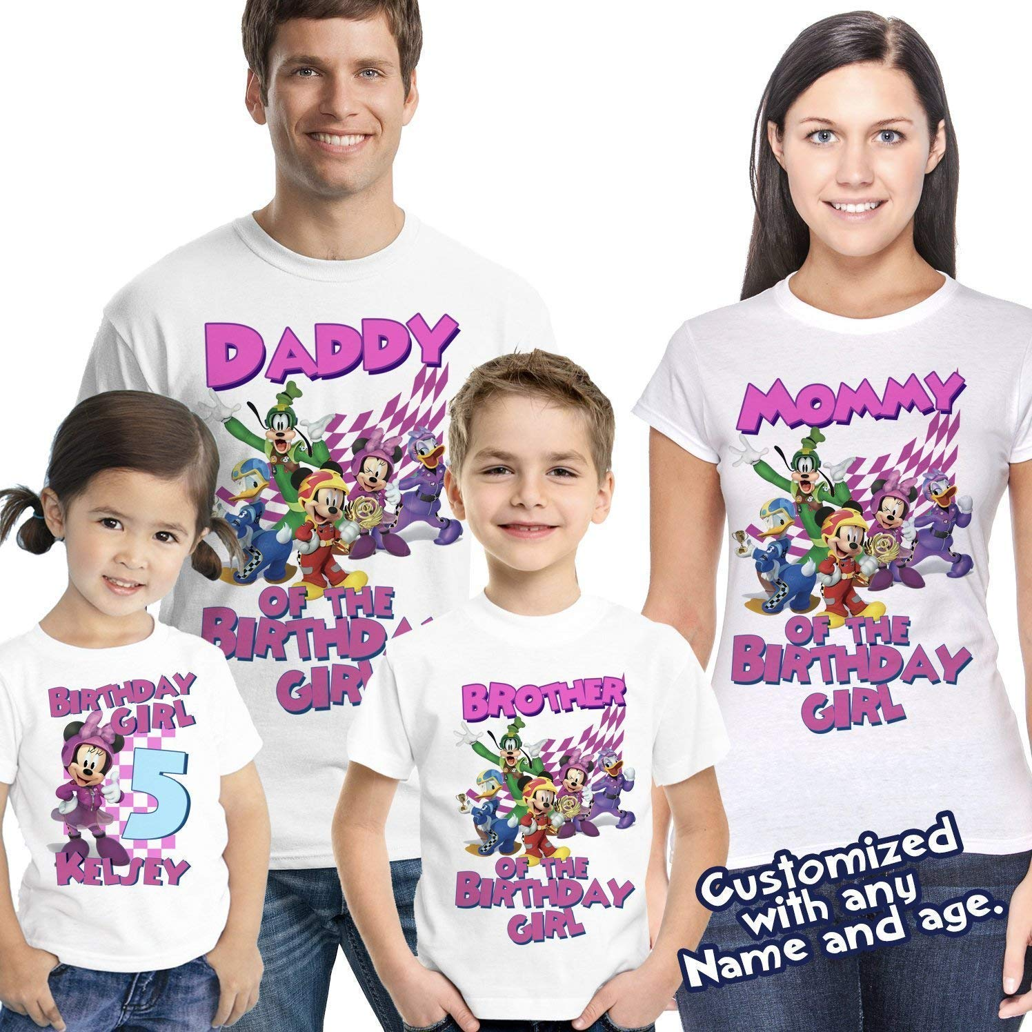 NEW Custom Personalized Minnie Mouse t shirt Birthday party gift Add Name /& Age