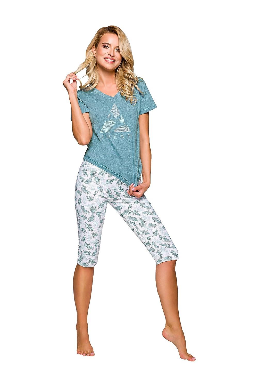 TARO Pijamas para Mujeres Camiseta y Pantalones 3//4 Capri Tallas S M L XL