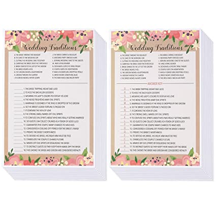 Amazon Bridal Shower Games 25 Pack Wedding Card Games For