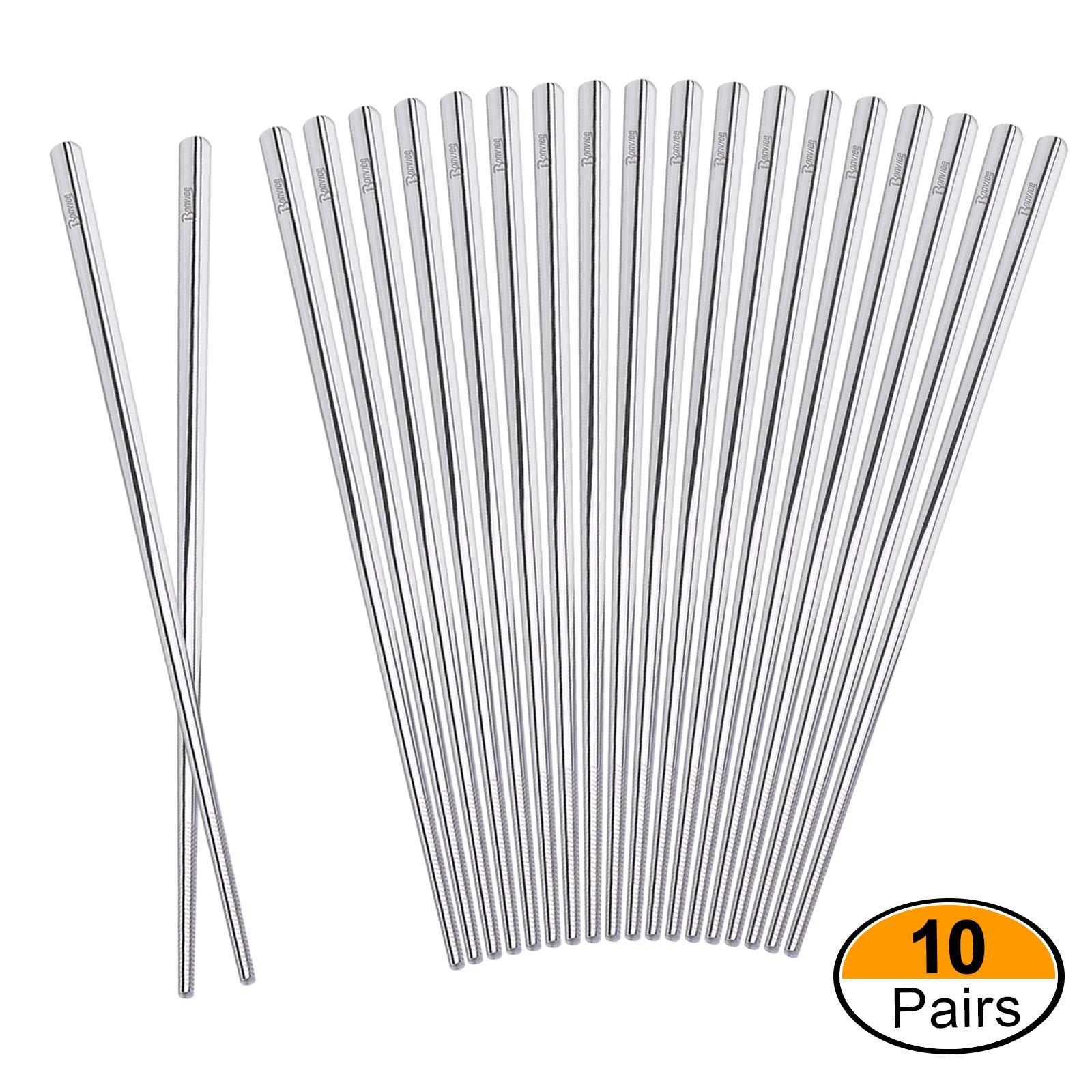 Bonviee Metal Chopsticks Reusable 304 Stainless Steel Chopsticks Set Dishwasher Safe 9.05 Inch Non-Slip for Household Hotel Resturant (10 Pairs)
