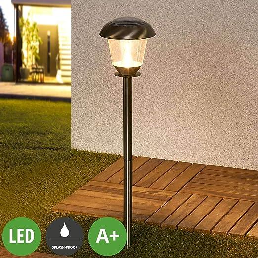 LED Lámparas solares Nela (Moderno) en Gris hecho de Acero (6 llamas, A+) de LAMPENWELT | lámpara solar, lámpara solar jardín: Amazon.es: Iluminación