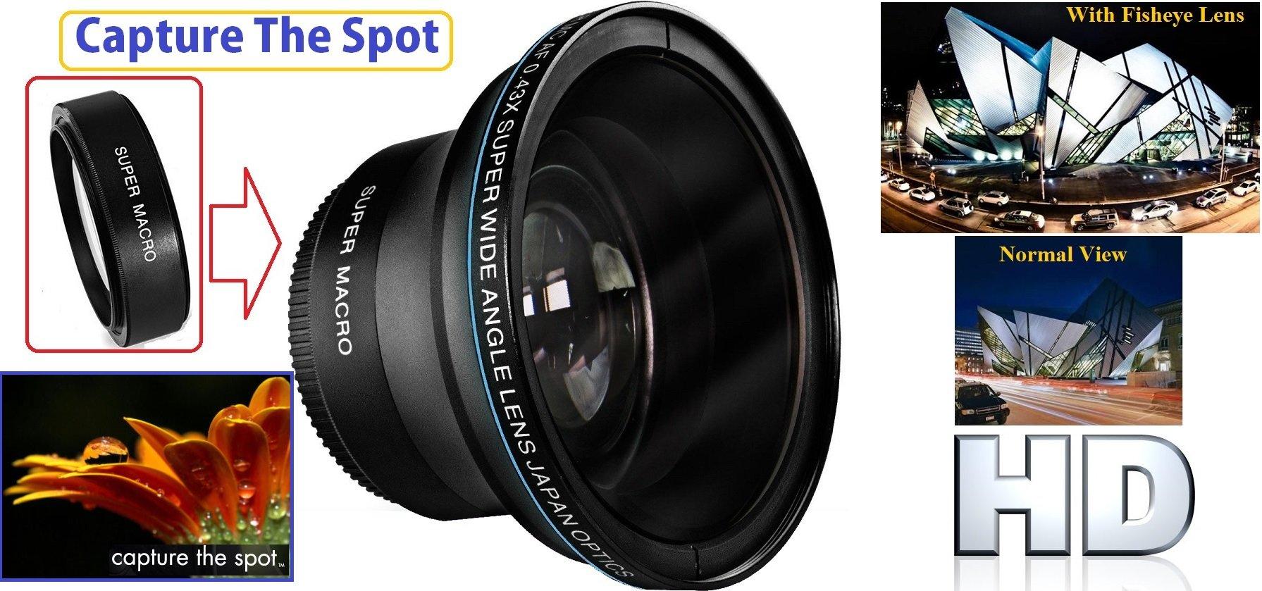 Professional HD MK III Fisheye Lens for Canon Vixia HF M41 M500 M400 M40 R72 R700 R70 R600 R62 R60 M52 by HD Lens