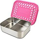 LunchBots Duo Stainless Steel Food Container - Two Section Design Perfect for Half of a Sandwich and a Side or for Use as a Snack Box - Eco-Friendly, Dishwasher Safe and BPA-Free - Pink Dots