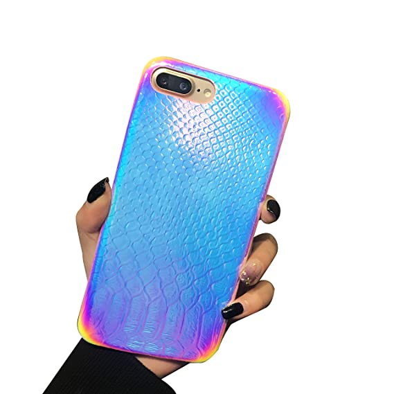 huge discount 5e99b 654d6 Holographic Mermaid iPhone 8 Plus Case,Easeu [Super Slim] [Gorgeous]  Iridescent Back Cover [Color Changing] Anti-scratch Crocodile Pattern Thin  ...