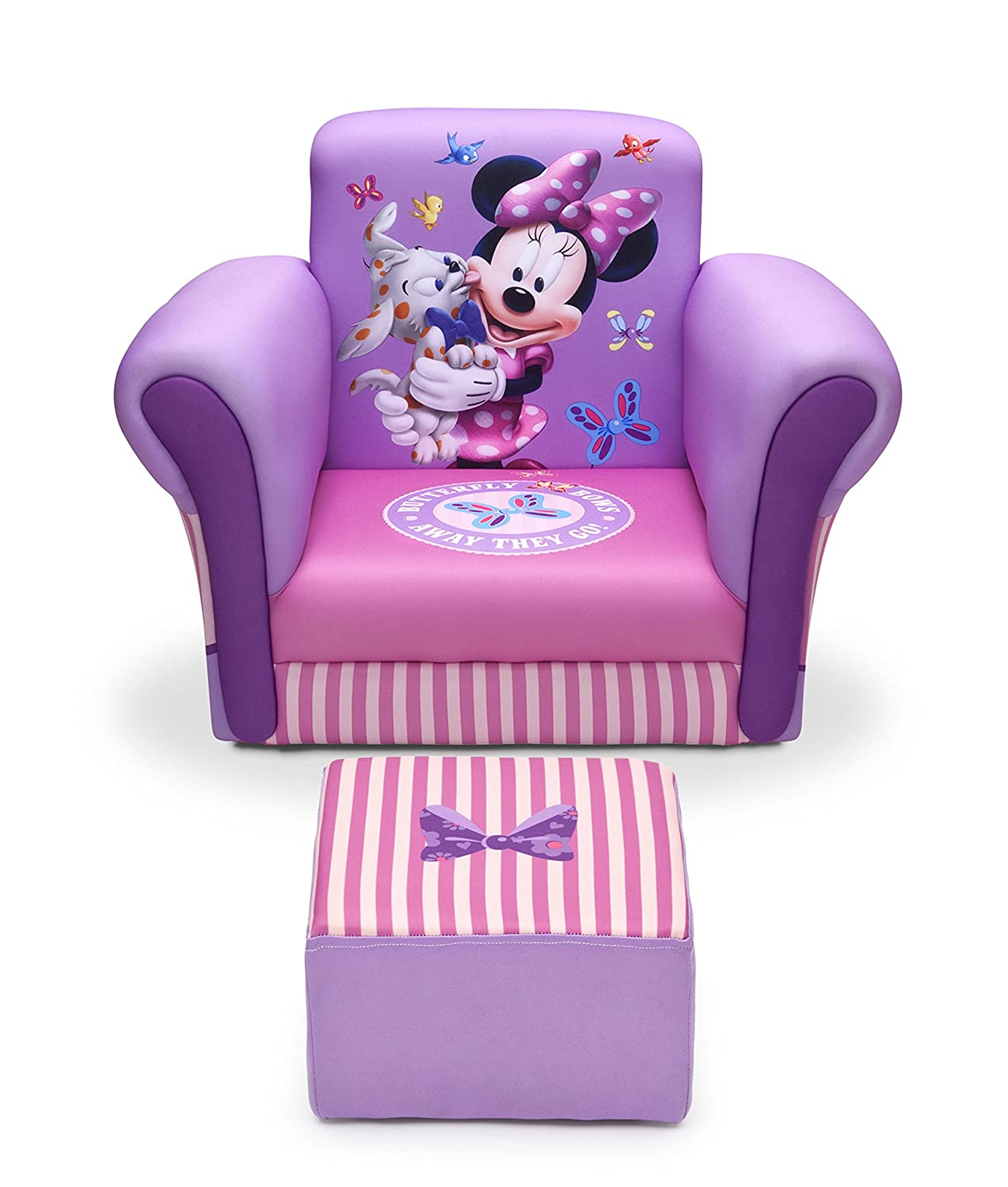 amazoncom delta children upholstered chair with ottoman disney minnie mouse baby