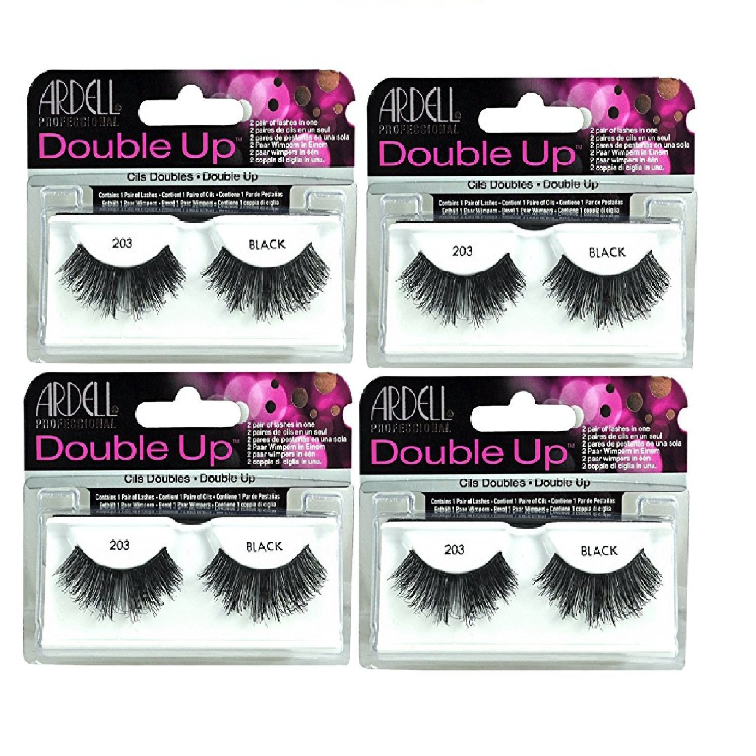 edc8cde80fd Amazon.com: Ardell - Double Up #203 False Eyelashes, Black reusable  (4-Pack): Health & Personal Care