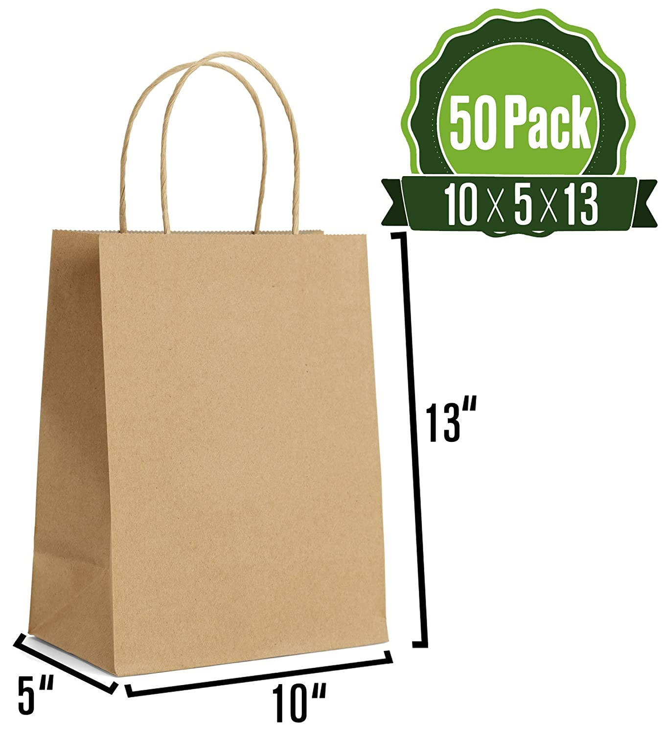 Amazon.com: Bolsas de regalo de papel kraft con asas [ideal ...