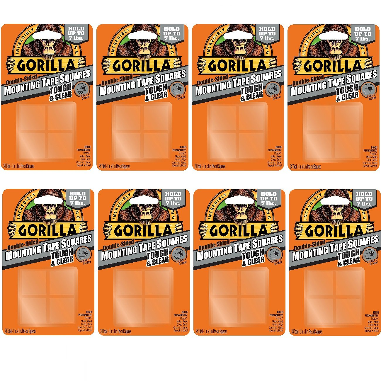 Gorilla 6067201 Mounting Tape Squares, Tough & Clear (8 Pack) by Gorilla