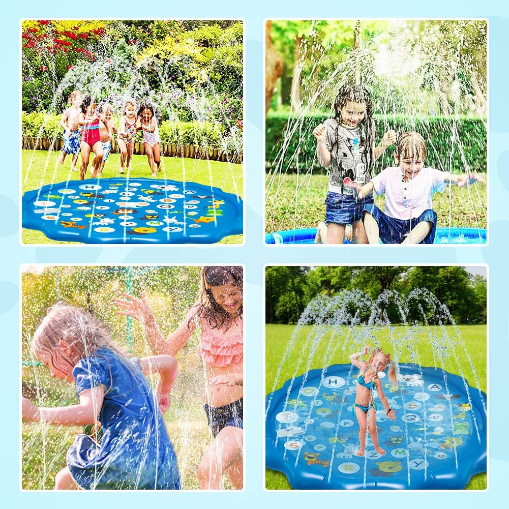 Sprinkler for Kids Splash Pad Play Mat 68 Inflatable Sprinkler Fun Summer Outdoor Water Toys Baby Wading and Learning Swimming Pool for Boys Girls Toddlers