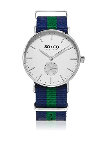 SO & CO New York Reloj con Movimiento Cuarzo japonés Unisex Unisex Unisex Canvas Striped Interchageable