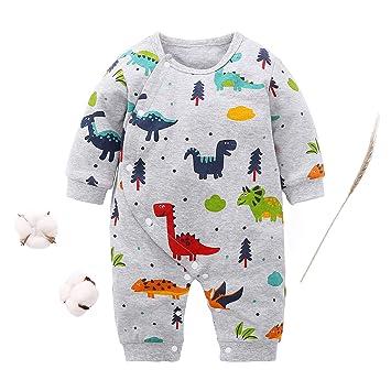 Newborn Infant Baby Boys Girls Long Sleeve Cartoon Print Romper Jumpsuit Clothes
