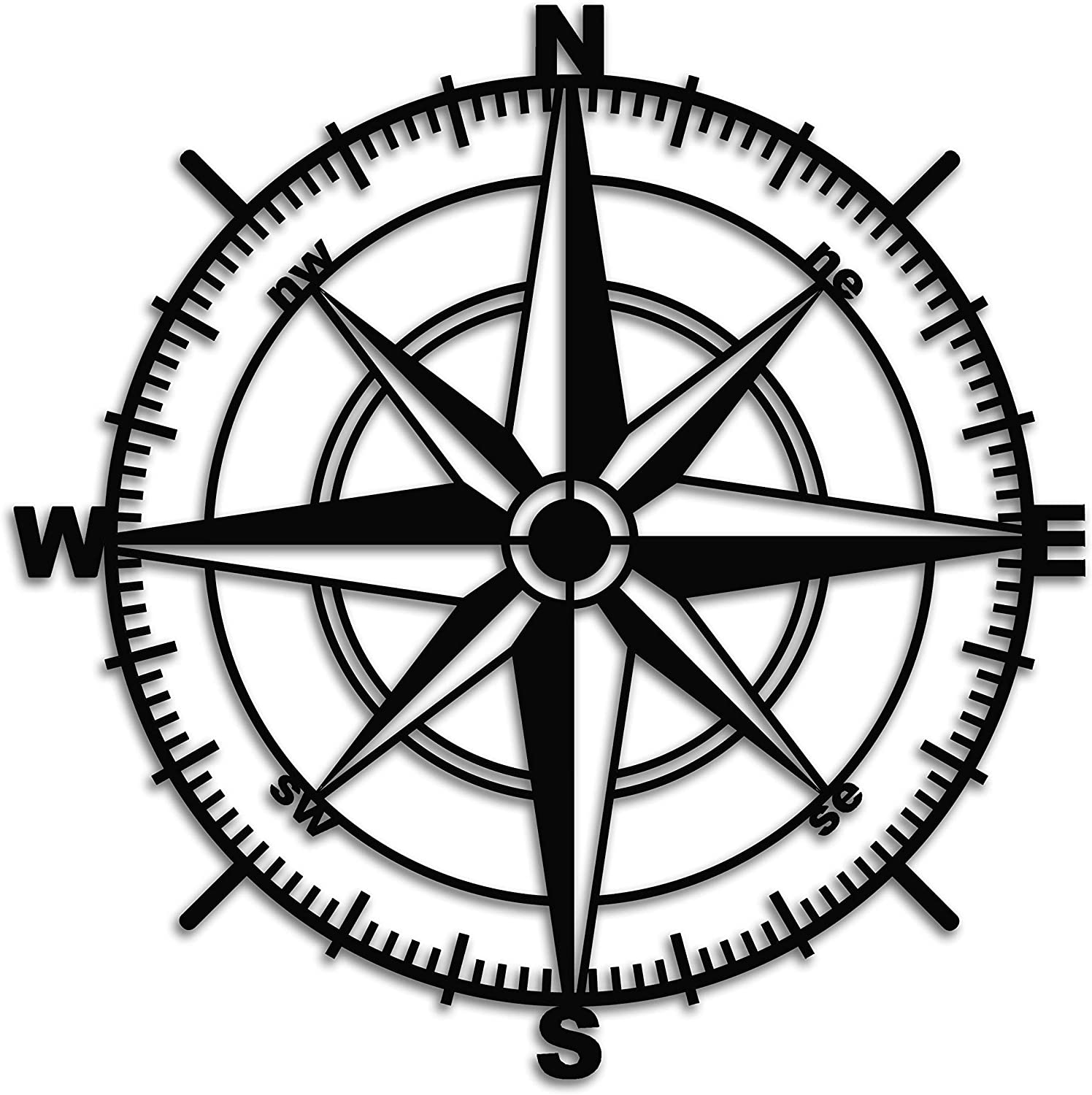 Venovez Metal Wall Art, Compass Wall Decor, Wall Hanging, Wall Decor Compass, Nautical Wall Compass, 20
