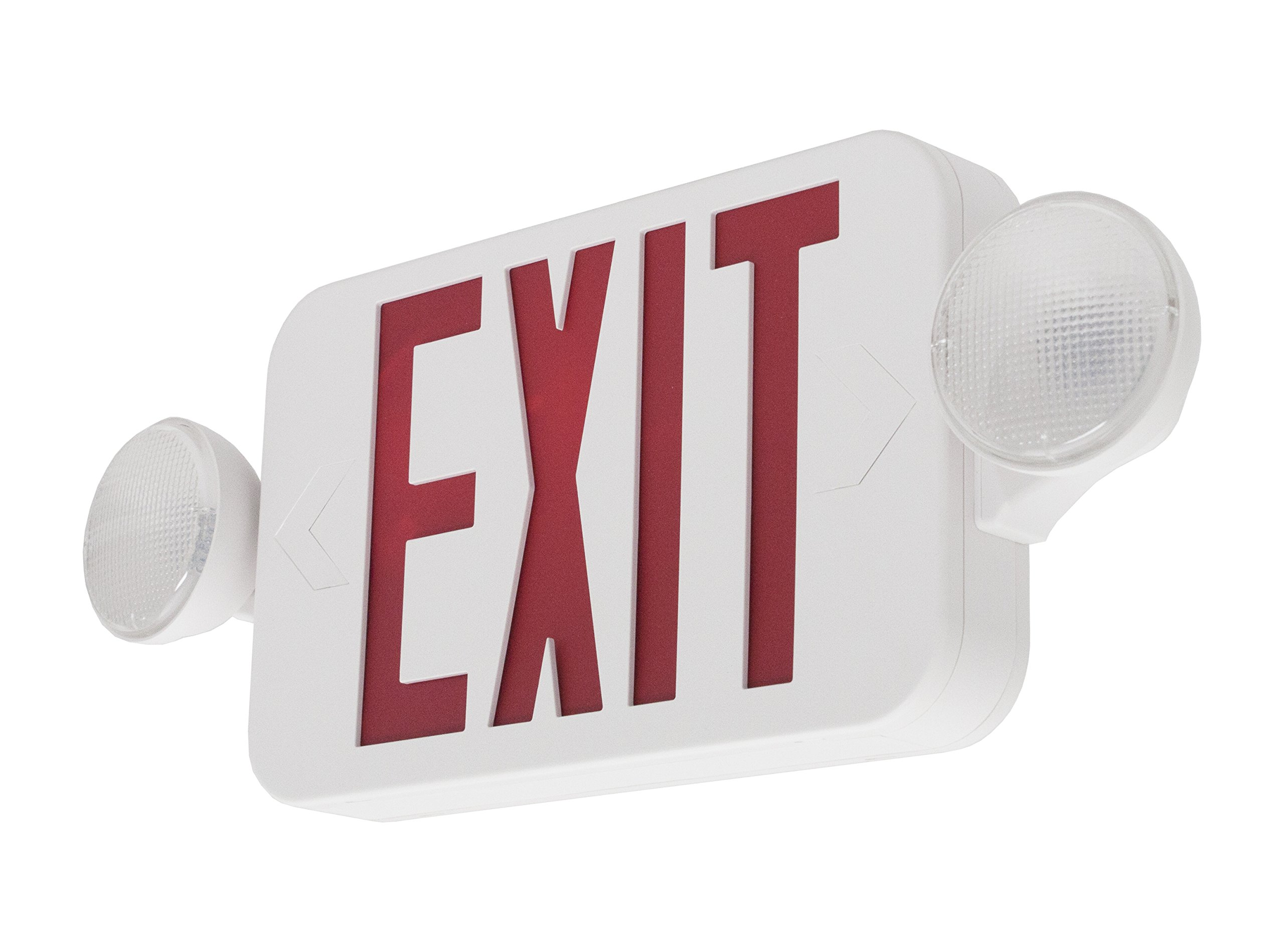 LFI Lights - UL Certified - Hardwired Red Compact Combo Exit Sign Emergency Egress Light - COMBORJR