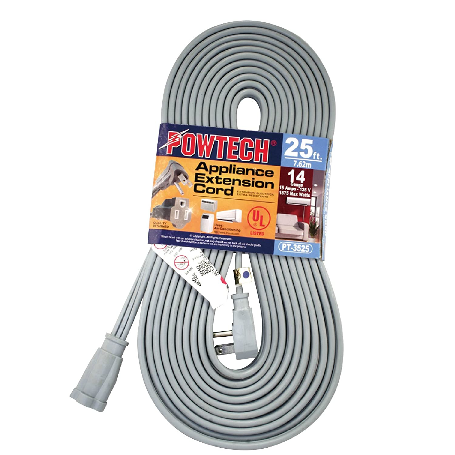 POWTECH Heavy duty 25 FT Air Conditioner and Major Appliance Extension Cord UL Listed 14 Gauge, 125V, 15 Amps, 1875 Watts GROUNDED 3-PRONGED CORD