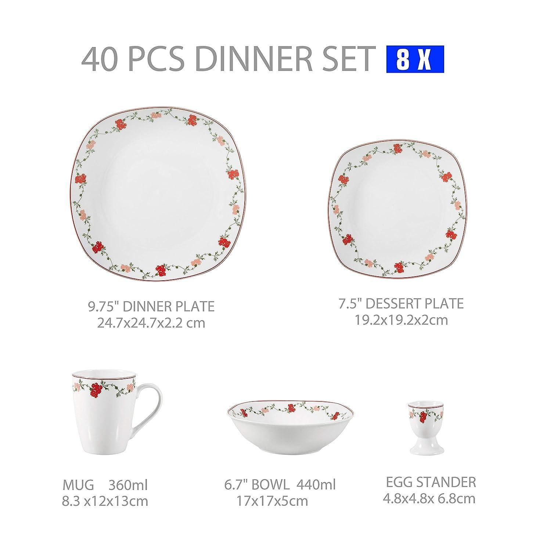 6 Platos Hondos y 6 Platos de Postre para 6 Personas VEWEET Gloria Juegos de Vajillas 18 Piezas de Porcelana con 6 Platos