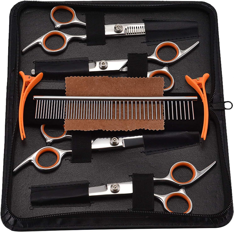 PETTOM Pet Grooming Scissors Set 5-in-1 Safety Round Tip Dog Grooming Blender Shears Kit for Full Body & Facial Trimmer