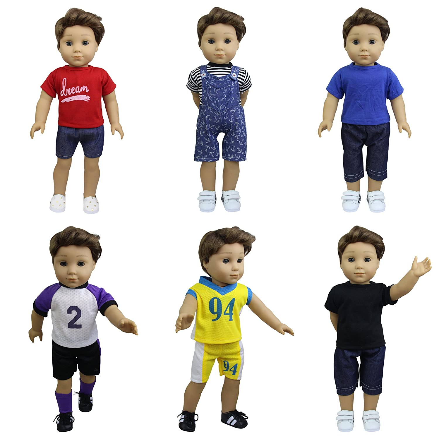 ZITA ELEMENT 6 Sets American Boy Clothes | Logan Outfits for 18 Inch Doll, Multi-Colored 18 Inch and Similar Sized