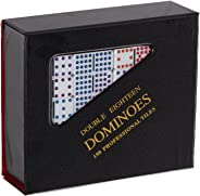 Professional Size Double 18 White Domino Tiles with Multicolored Dots