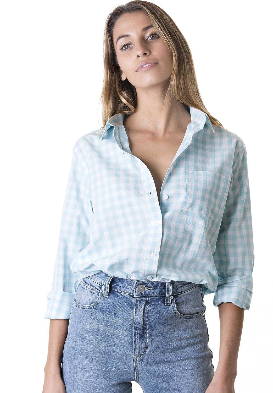 CAMIXA Gingham t-shirt för kvinnor rutig ledig långärmad knapp ner pläd topp Aqua
