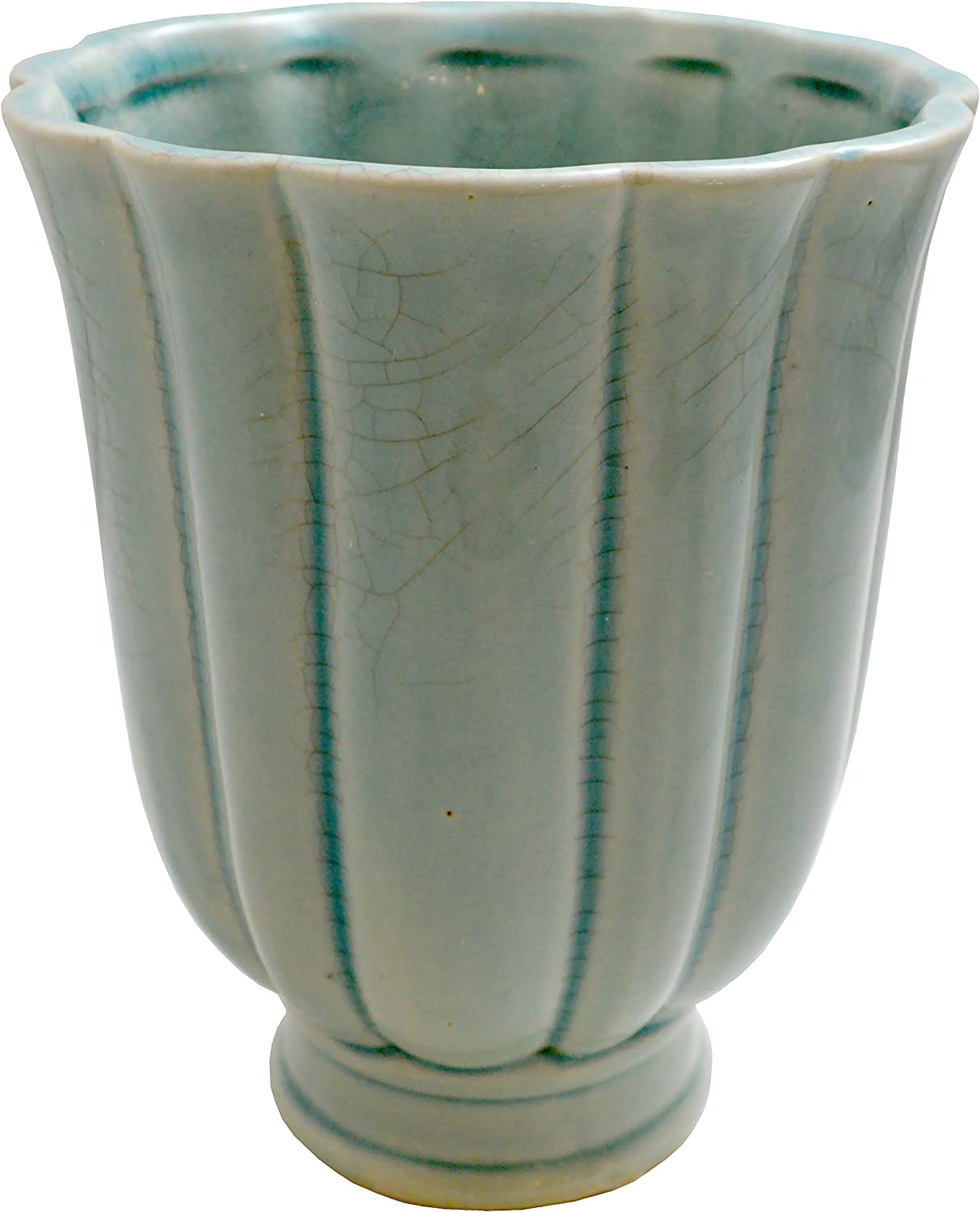 Sia Home Fashions Decor Collection Ceramic Round Scalloped Vase, Teal