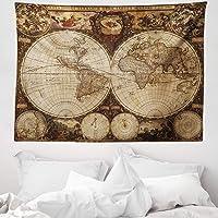 ABAKUHAUS Planisferio Tapiz de Pared y Cubrecama Suave, Viejo Planisferio 1720s Arte Estilo Nostálgico Atlas Histórico…