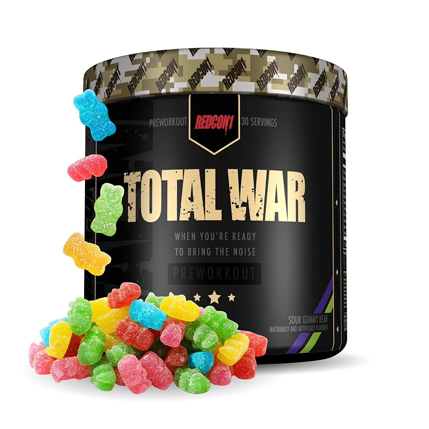 Redcon1 Total War - Pre Workout, 30 Servings, (Sour Gummy) Boost Energy, Increase Endurance and Focus, Beta-Alanine, 350mg Caffeine, Citrulline Malate, Nitric Oxide Booster - Keto Friendly -…