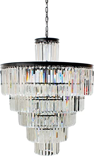 D Angelo 13 Light 6 Tier Clear Glass Crystal Prism Chandelier