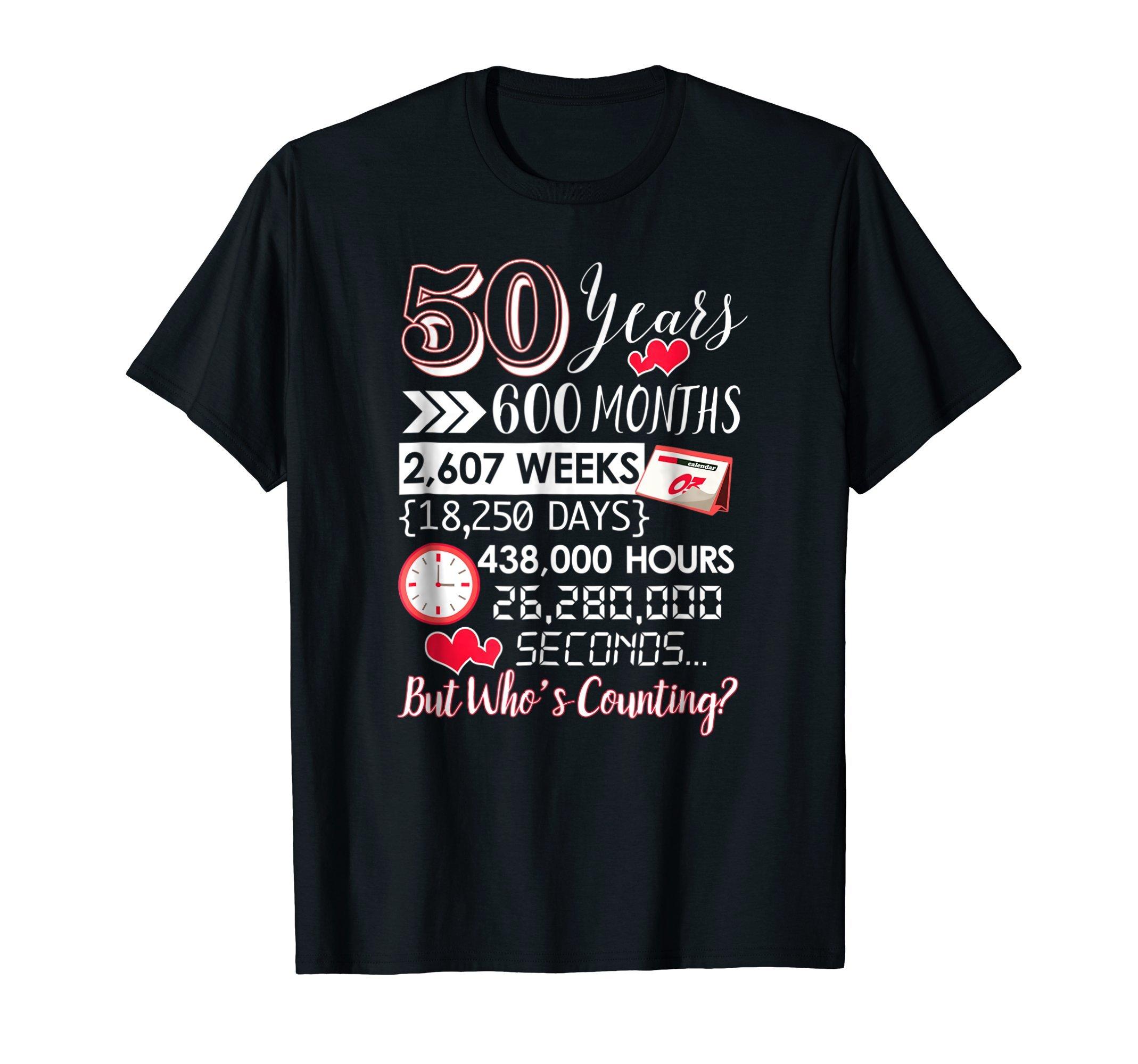 Mens 50 Year Anniversary T Shirt 50th Wedding Anniversary Gift Large Black