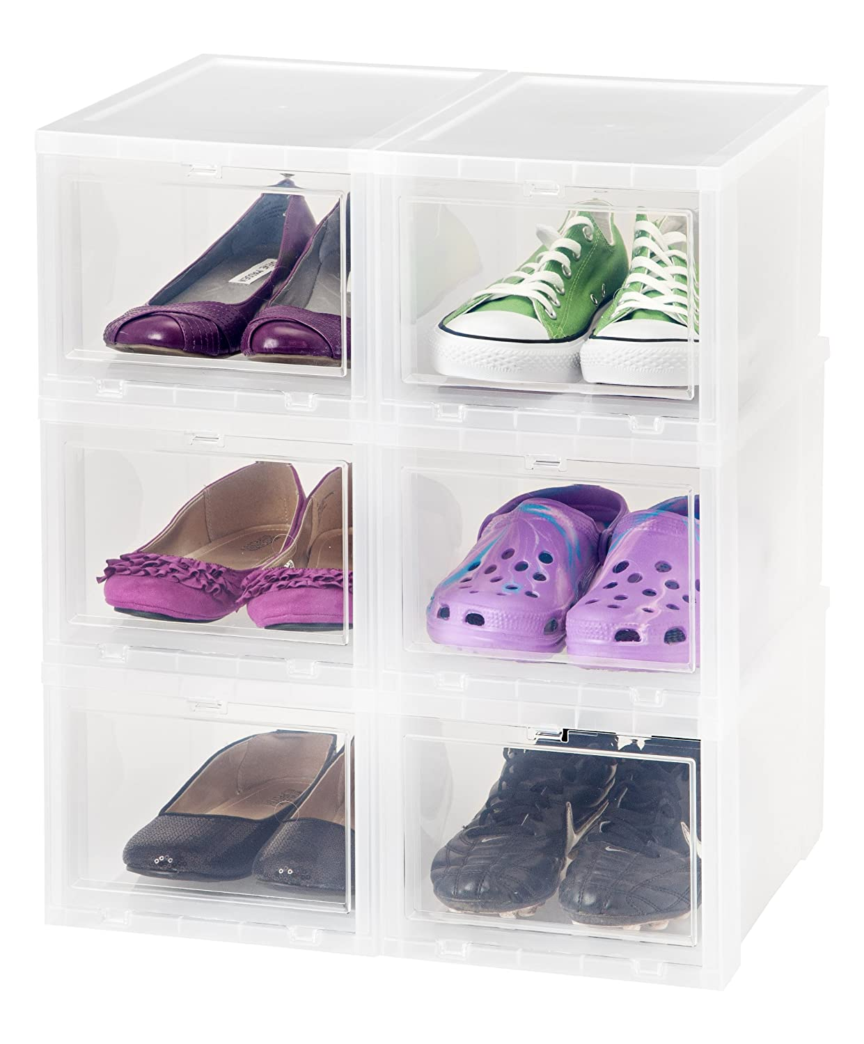Amazon.com: IRIS Small Drop Front Shoe Box, 6 Pack, Clear: Home ...