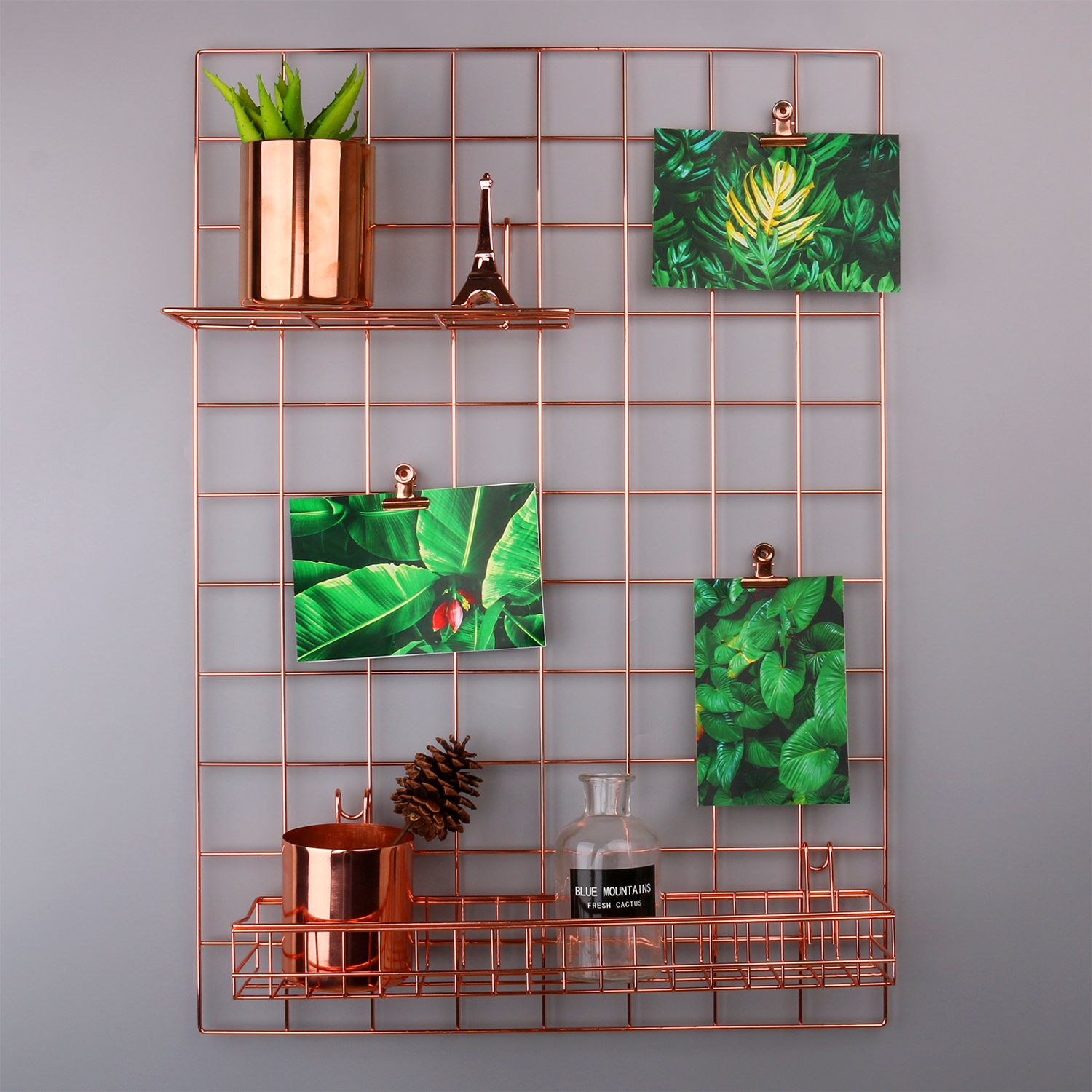 Grid Panel Photo Wall Rumcent Wire Wall Mesh Display Panel Decorative Iron Rack Clip Photograph Wall Frame Background Picture wall, Fashion Art Display & Organizer (Rose Gold)
