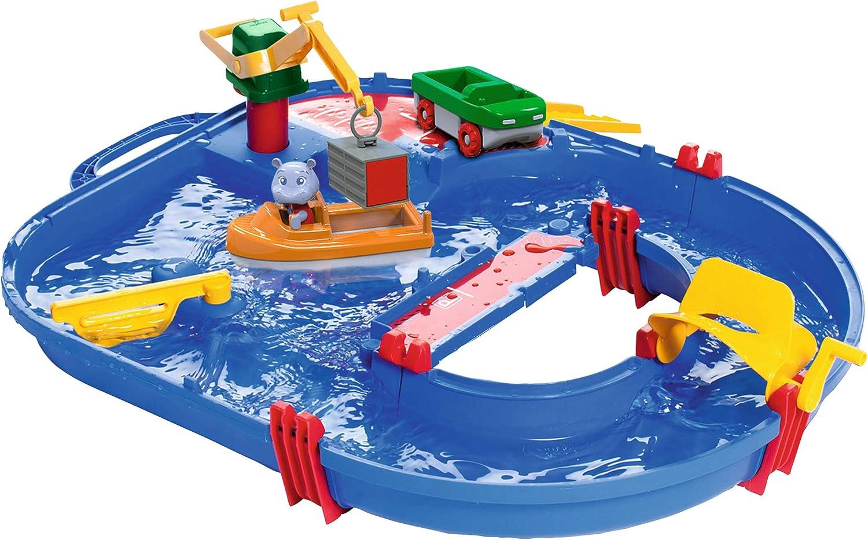 AquaPlay Start Set Circuito de Juego acuático 21 Piezas con Barco portacontenedores, vehículo Anfibio, Figura HIPO, Multicolor (8700001501)