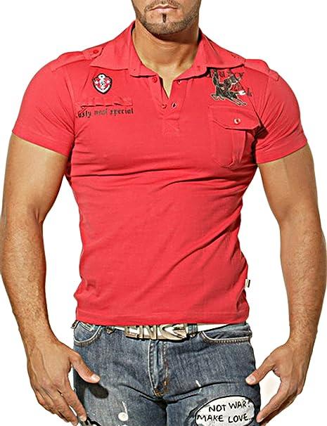 Rusty Neal Hombre Polo Japan Style Camisa Camiseta De Manga Corta Rojo RN de 482 Camiseta rojo xx-large: Amazon.es: Ropa y accesorios