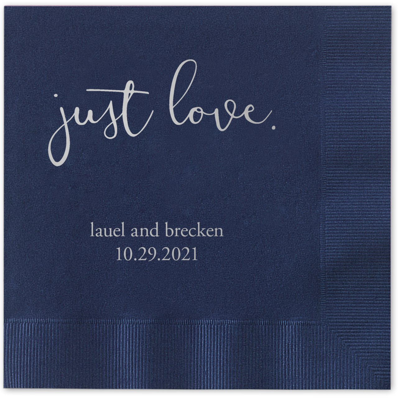 Just Love Personalized Beverage Cocktail Napkins - 100 Custom Printed Navy Blue Paper Napkins with choice of foil by Canopy Street