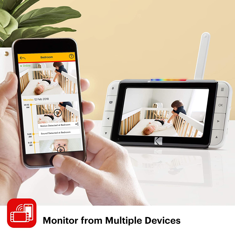 One-Touch-Audiomonitor KODAK CHERISH C520 Video-Babyphone 5-Zoll-HD-Babymonitor Zoomende Babykamera mobile und WiFi-App