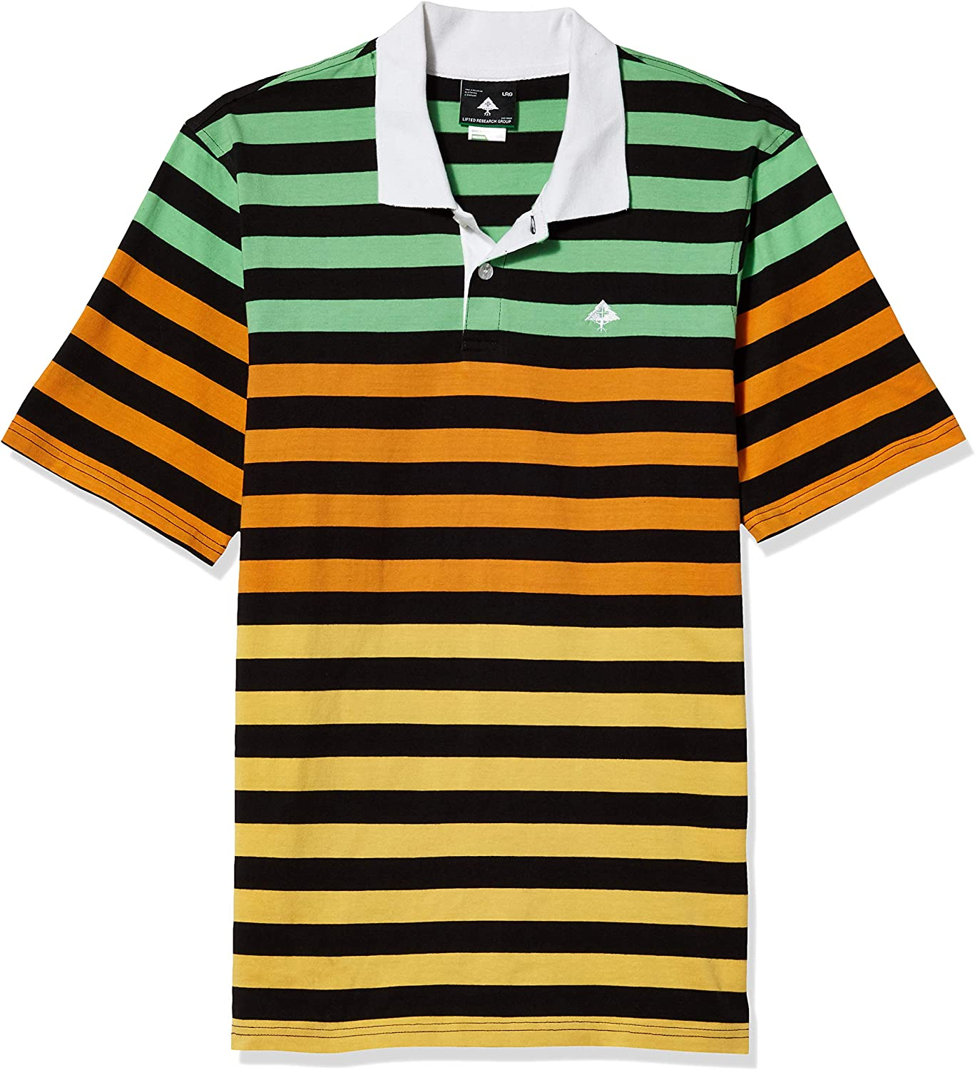 LRG Lifted Research Group Mens Rasta Striped Polo Shirt