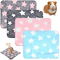4 Pieces Hamster Guinea Pig Warm Bed Mats Soft Plush Hamster Pad Mats Small Animal Winter Sleep Bedding Mat for Bunny…