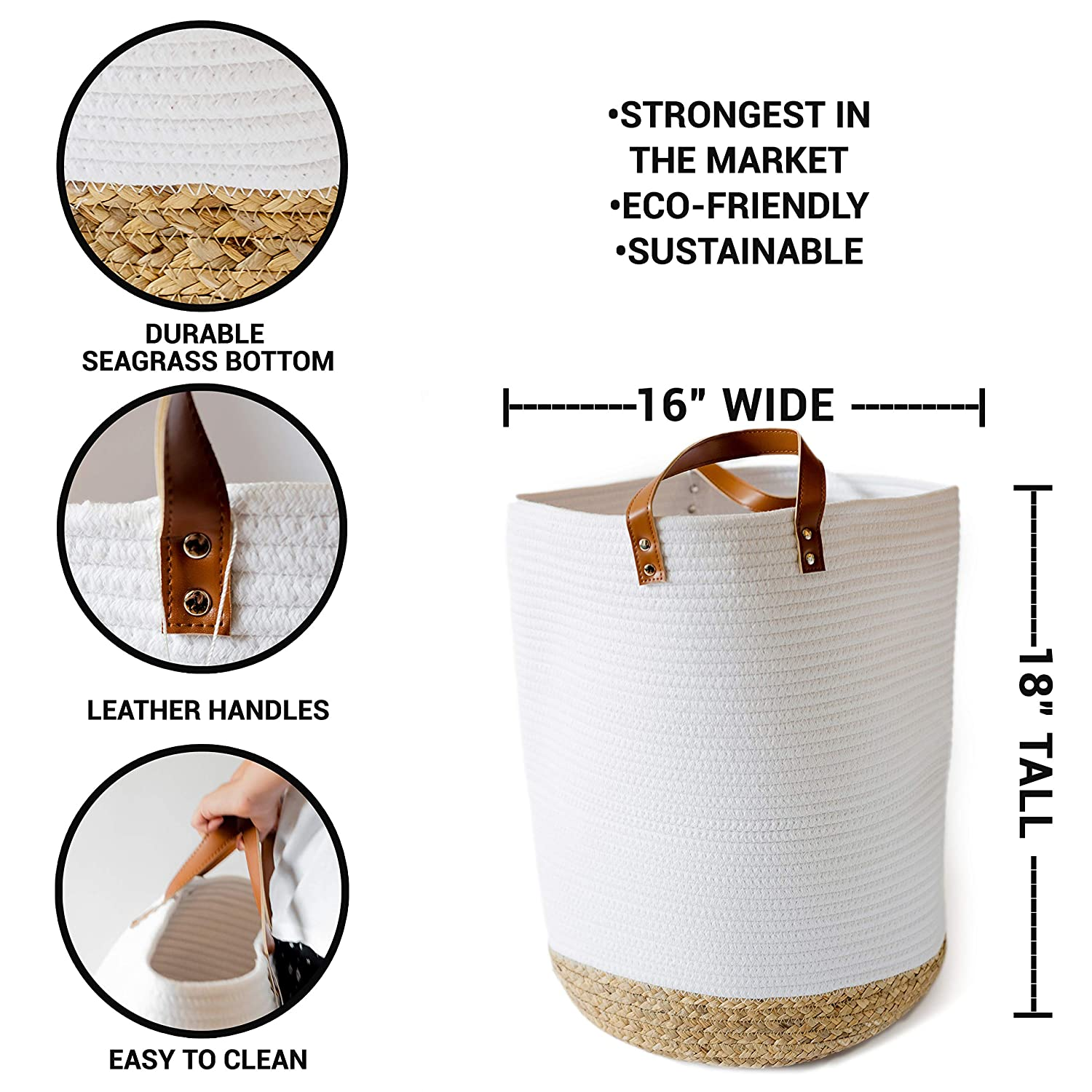 Extra Large Cotton Rope Basket – 18 x 16 – Woven Baby Laundry Basket for Blankets Seagrass Bottom – Rope Basket – Living Room Decor and Storage Bins with Heavy Duty Handles Leather