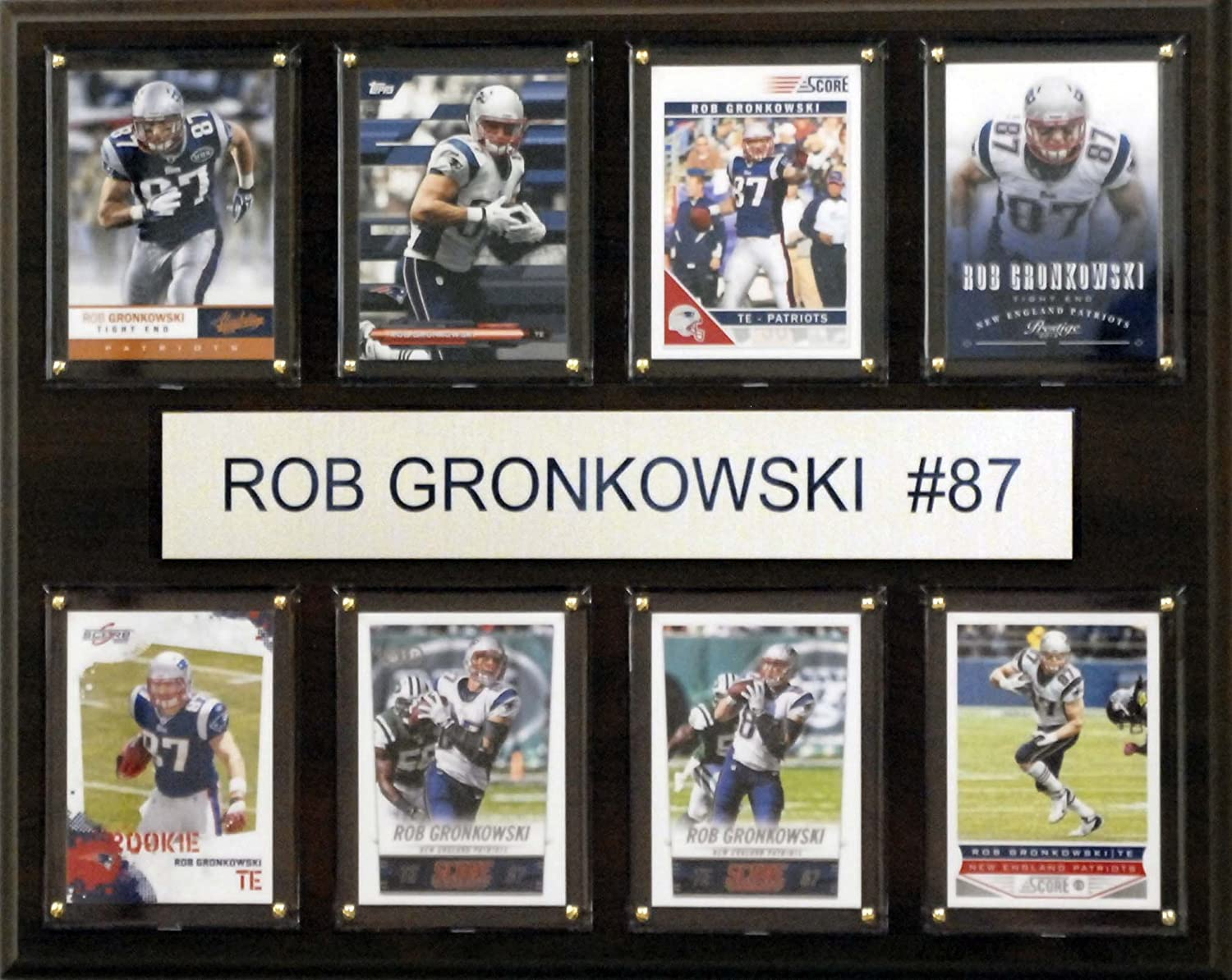 NFL New England Patriots Rob Gronkowski 8-Card Plaque, 12 x 15-Inch, Brown