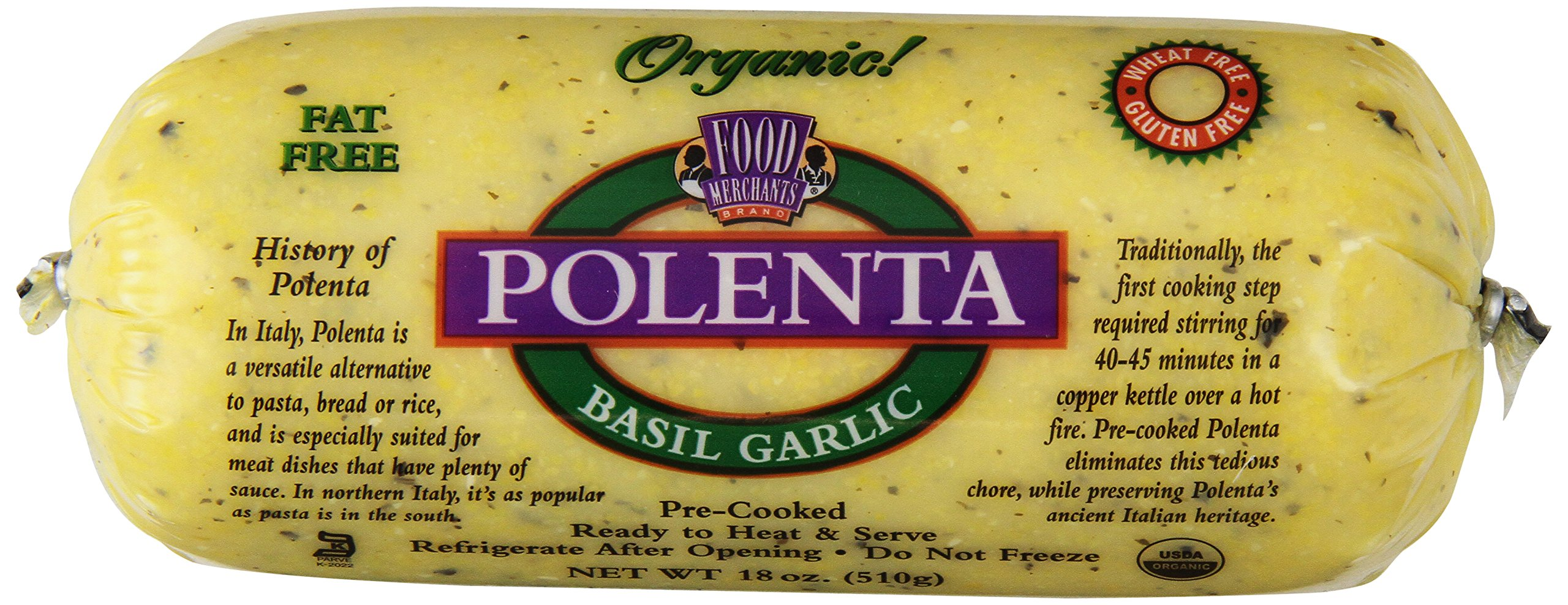 Food Merchants Organic Polenta, Basil Garlic, 18 Ounce (Pack of 12) by Food Merchants