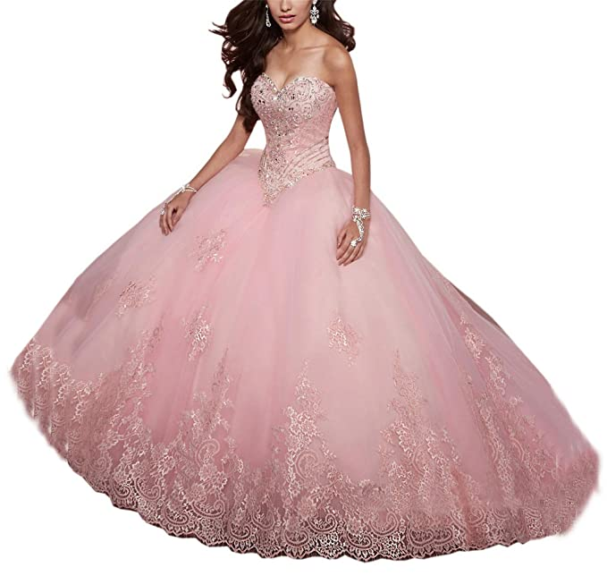 SweetBei Women\u0027s Lace Appliques Sweet 15 Ball Gowns Tulle Quinceanera  Dresses
