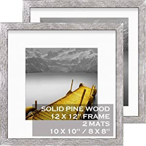 12x12 Picture Frames Wood Rustic Distressed White Display Pictures 10x10 or 8x8 with Mat or 12x12 without Mat - Each 12x12 Inch Square Photo Frames with 2 Mats for Wall or Tabletop Mount, Set of 2