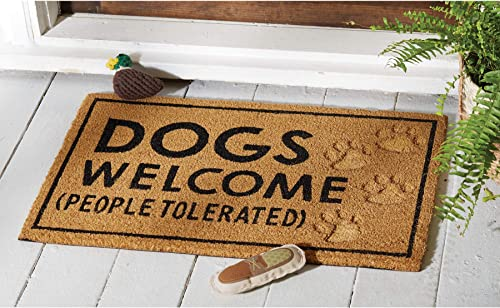 Fab Habitat Trees Gold Painted Doormat 18 x 30 Rubber, Durable