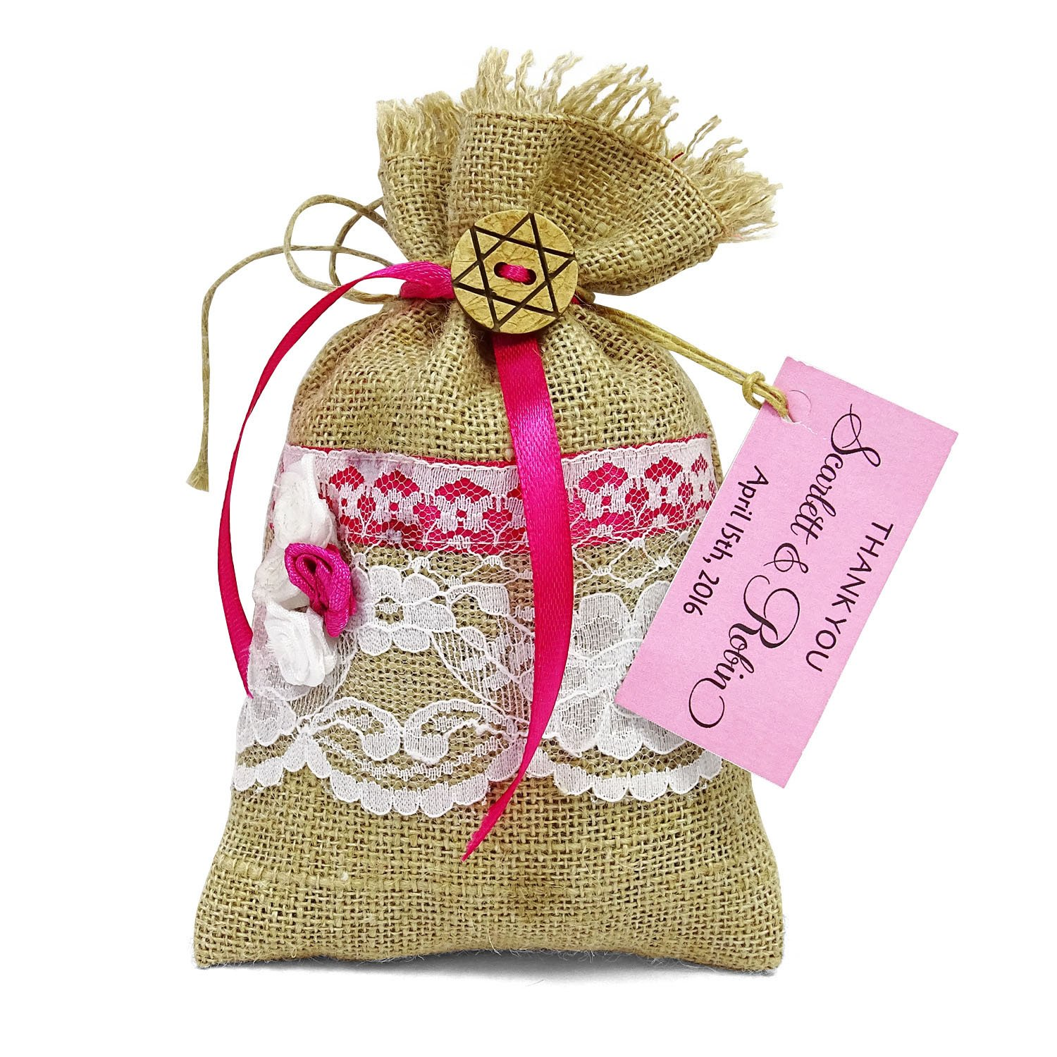 Amazon.com: 20 Burlap Drawstring Gift Pouch Small Jute Bags Wedding ...
