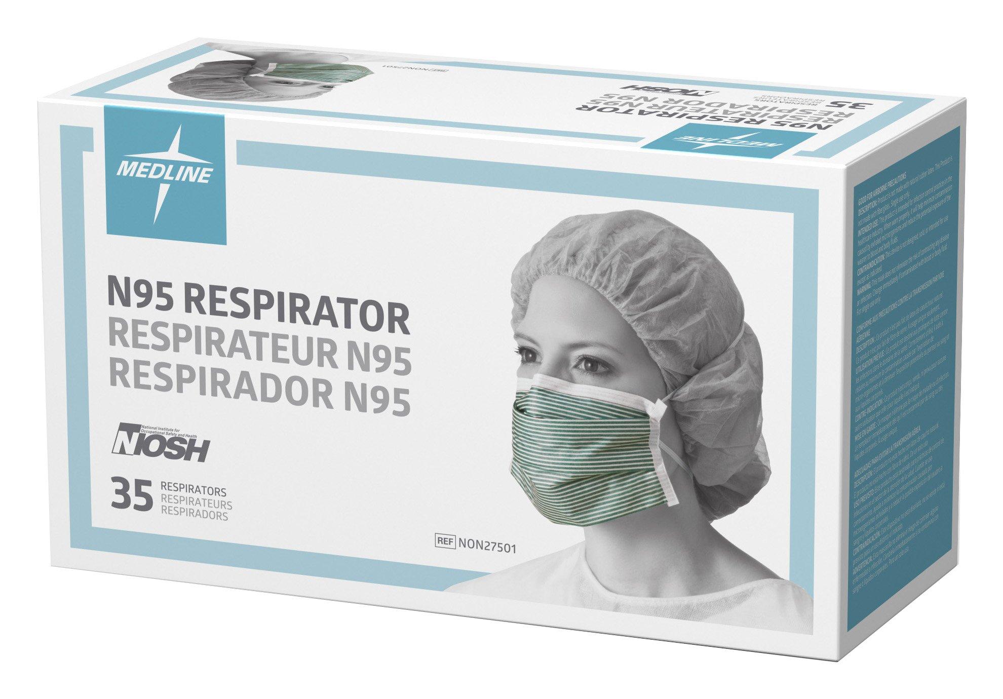 Medline NON27501 N95 Flat Fold Respirator Masks, Cellulose, Latex Free, White/Green (Pack of 210) by Medline (Image #4)