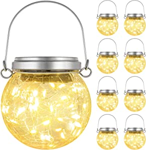 8 Pack Solar Hanging Lights Outdoor, Cracked Glass Ball LED Lights, Solar Powered Waterproof Globe Lanterns with Handle for Patio, Tree, Holiday, Solar Garden Lights Outdoor Decorative (Warm White)