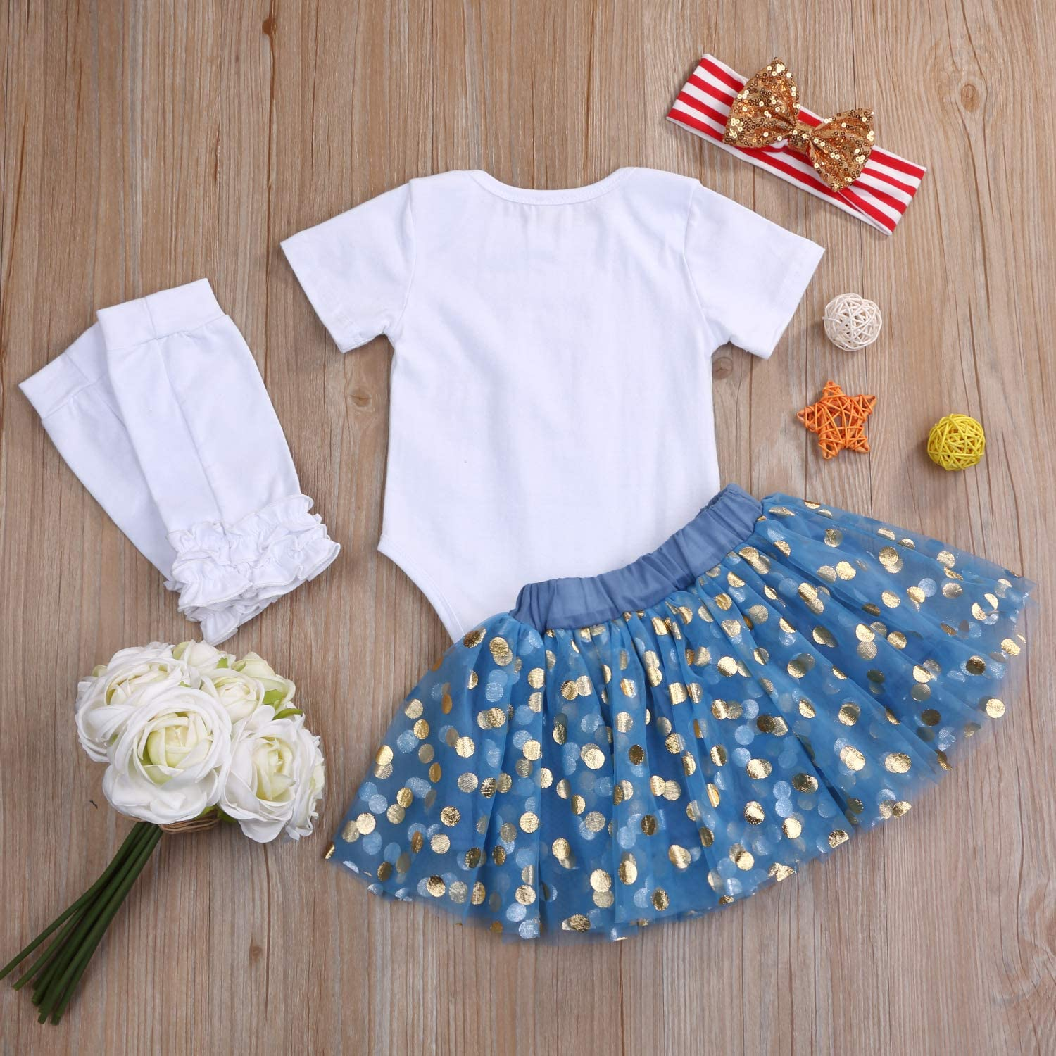 Baby Girl My First 4th of July Outfits Short Sleeve Romper+Tutu Skirt+Headbands 4PCS Clothes Set