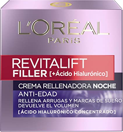 L'Oréal Paris Revitalift Filler Crema Rellenadora de Noche, Ácido Hialurónico - 50 ml