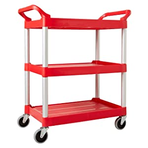 Rubbermaid Commercial Products Heavy Duty 3-Shelf Rolling Service/Utility/Push Cart, 200 lbs. Capacity, Red, for Foodservice/Restaurant/Cleaning (FG342488RED)