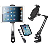 EverywhereFocus Tablet Stand Phone Holder Desk Clamp Mount (6-13 inch): Aluminum Adjustable Stand for iPad Pro 12.9/10.5 Air Mini, iPhone, Samsung Galaxy Tab, Nintendo Switch, Surface Pro, Kindle.